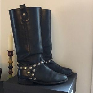 Frye knee high ankle studded boots